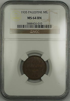 1935 Palestine 1 Mil Coin NGC MS-64 BN Brown (A)