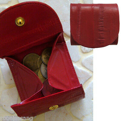 Genuine Eel Skin Leather Mini Coin Purse Smaill Wallet Red