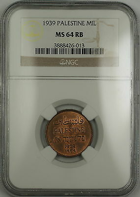 1939 Palestine 1 Mil Coin NGC MS-64 RB Red-Brown *Scarce Condition*