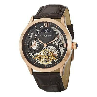 Stuhrling 571 3345K54 Tempest II Automatic Skeleton Dual Time Brown Mens Watch