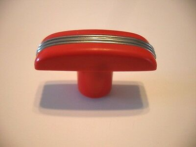 VINTAGE T-Handle RED BAKELITE Knobs Drawer Door Pulls CHROME Strip Lines Handles