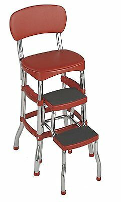 Cosco Retro Style Counter Chair / Step Stool,  Red,  New, Free Shipping