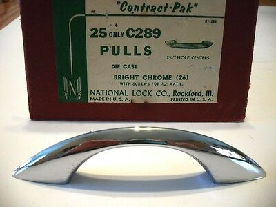 Vintage NOS CHROME Drawer or Cabinet Door Pulls Handles Peaked Convex Face