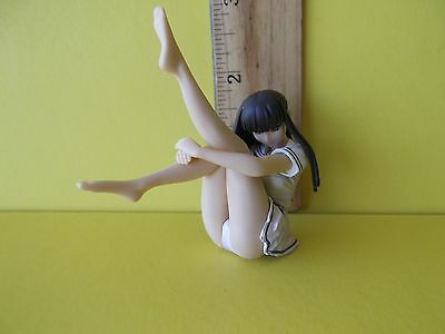 "#071 Unknown Anime Super Cute Girl Sitting with Legs in Air 2""in PVC Figure Cute"