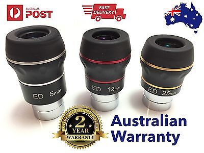 "3 x Dual ED 1.25"" eyepiece for telescope - Choose your Focal Length! Flat field"