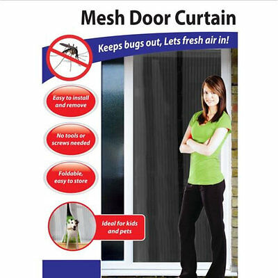 Hot Mesh Door Magic Curtain Magnetic Snap Fly Bug Insect Mosquito Screen Net