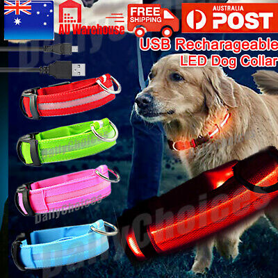 LED Dog Collar USB Rechargeable Light Walk Safety Flashing glow in dark Nylon