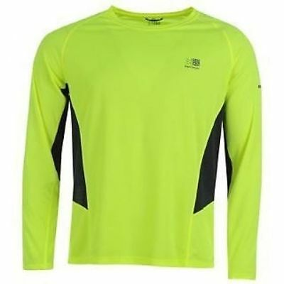 Karrimor Mens Fluorescent Yellow/Navy Long Sleeved Running Top - BNWT