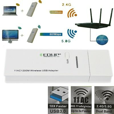 New 1200Mbps 5.8G 2.4G Wireless Dual Band 802.11AC USB 3.0 WiFi Adapter
