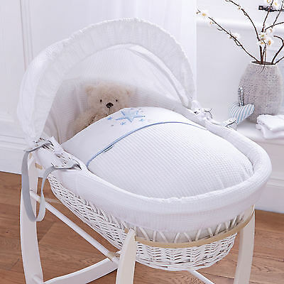New Clair De Lune Stardust Blue Padded White Wicker Moses Basket & Mattress