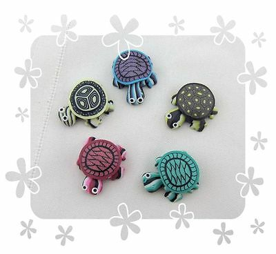 TURTLE MAGNETS created from polymer clay.  come in lots  of 5 adorable turtles!