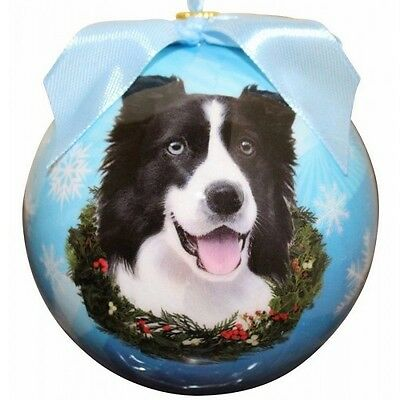 Border Collie Round Ball Christmas Ornament