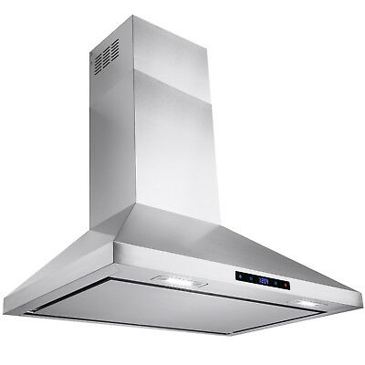 """30"""" Stainless Steel Wall Mount Range Hood Touch Screen Display Kitchen Vented"""