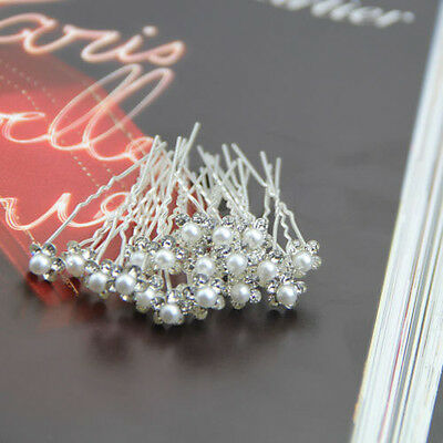 20Pcs Beautiful Wedding Bridal Crystal Rhinestone Pearl Flower Hair Pin Clips