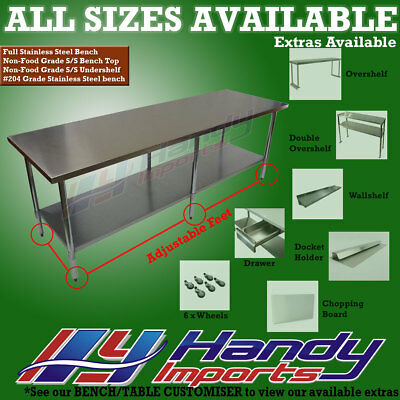 2134  x 762mm FULL STAINLESS STEEL #430 COMMERCIAL FOOD PREP WORK BENCH TABLE