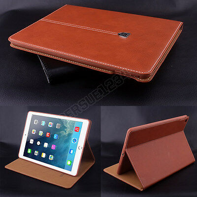 Luxury Magnetic Smart Flip Cover Stand Wallet Genuin Leather Case For iPad Model