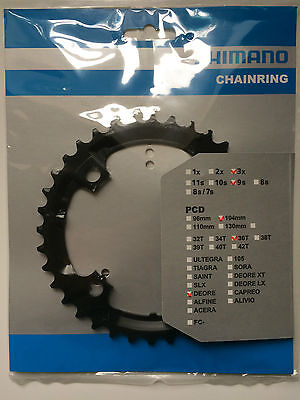 Shimano 36T Mega 9 Speed Chainring Deore FC-M590 M591 Black Y1LD98090 104mm BCD