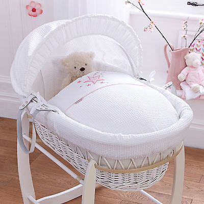 New Clair De Lune Stardust Pink Padded White Wicker Moses Basket & Mattress