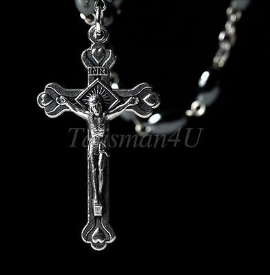 Black Hematite Catholic ROSARY Necklace Oval Beads Jerusalem Soil & Crucifix NIB