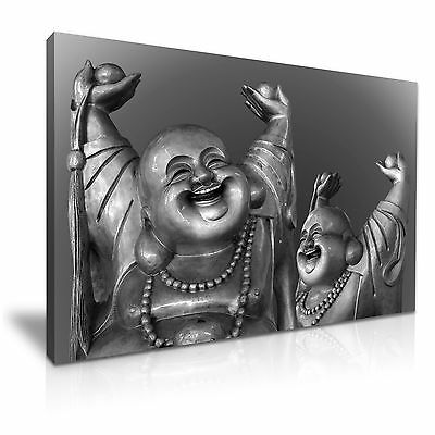 Happy Laugh Buddha Canvas Wall Picture Print 76x50cm Special Offer