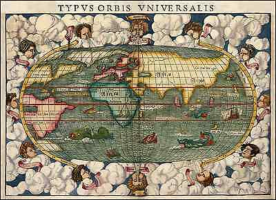 Color Antiguo Viejo Bola del mundo Decorativo Inusual Map & Monsters by Munster