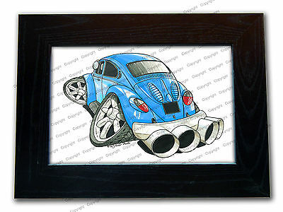 VOLKSWAGEN VW Beetle Rear Official Koolart Quality Glass Framed Picture 3 FOR 2
