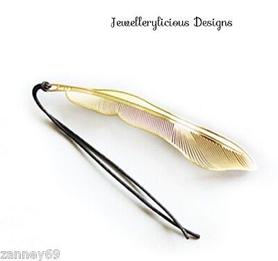Exquisite Golden Gold Feather Bookmark Graduation Birthday Christmas Gift  Etc..