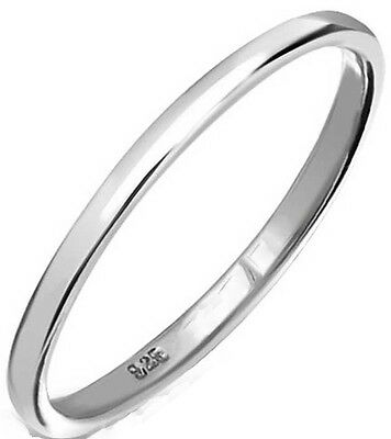 Handmade 925 SOLID Sterling Silver 2 mm D Wedding Band, Thumb, Midi Ring H - Z+1
