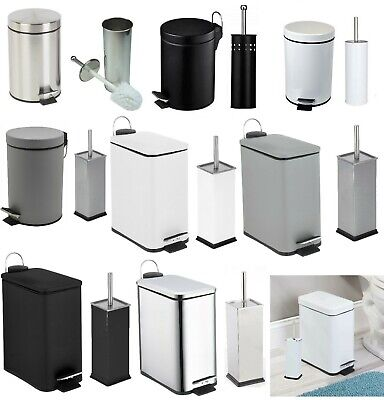 Bathroom Pedal Bin & Toilet Brush Colour Match Accessory Set Stainless Steel 2Pc
