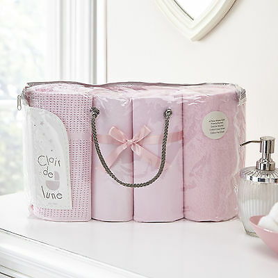 New Clair De Lune Pink 4 Piece Moses Basket Cotton Bedding Bale Baby Gift Set