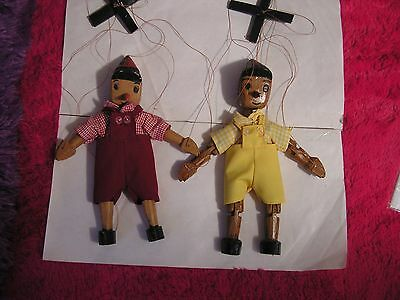 2-Vintage Pinocchio Marionette Wooden Puppet Doll Hand Carved Painted
