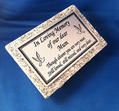 Small Personalised Grey Granite Memorial Grave Plaque Stone Ornament Any Wording