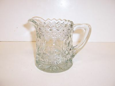 """VINTAGE PRESSED GLASS CLEAR SYRUP CREAM PITCHER 4"""" HIGH FLORAL DIAMOND PATTERN"""