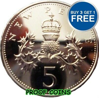 PROOF ENGLISH DECIMAL FIVE PENCE 5p COINS CHOICE OF DATE 1971-2015