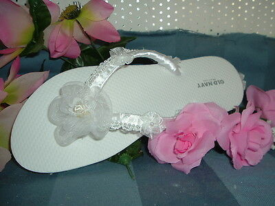 "Wedding Shoes FLIP FLOPS  "" Organza Bows"" All white"