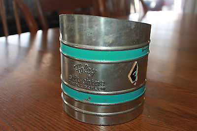 Vintage FOLEY SIFT-CHINE Triple Screen Flour Sifter Metal Turquoise Blue Striped