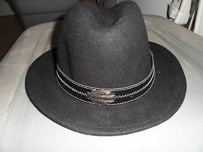 "NOS Harley Davidson Mens Size Small 2"" Band Crushable Black Wool Felt Hat HD187"