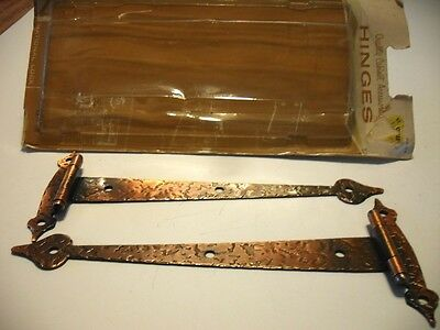 Vintage NOS T-STRAP HINGES Hammered Copper Colonial  for Flush Mounted Doors