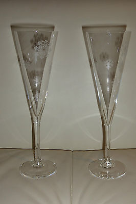 Orrefors Champagne Flutes Pair Snowflakes by Malin Lindahl
