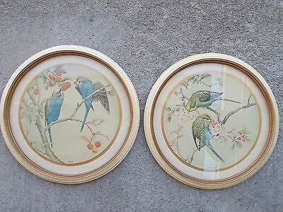 2 BIRD Round Frame Prints Ivory / Goldtone frame w/ glass Apple Blossom Arcady