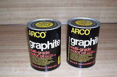 VINTAGE FULL  ARCO  MOTOR OIL 1 QUART PAPER CANS LOT OF -2- graphite 10W-40