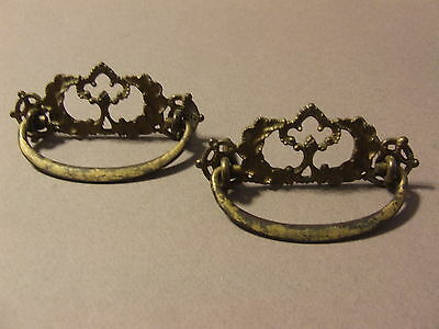 2 Antique Vintage Ornate Goldtone Drawer Pulls (H15)