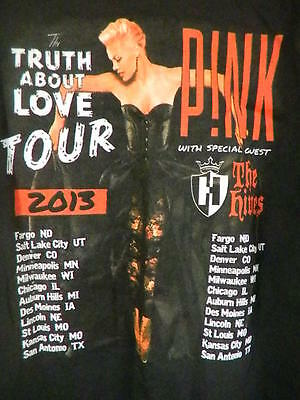 PINK The Truth About Love Tour 2013 T Shirt 2 Sided  with The Hives size medium