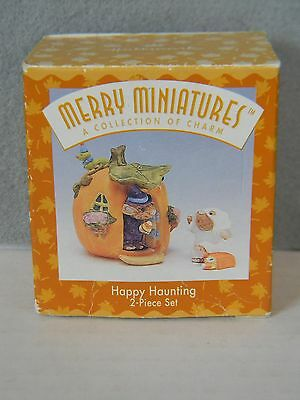 HAPPY HAUNTING - 2-Piece Set - Mice & Pumpkin - HALLMARK MERRY MINIATURES 1996