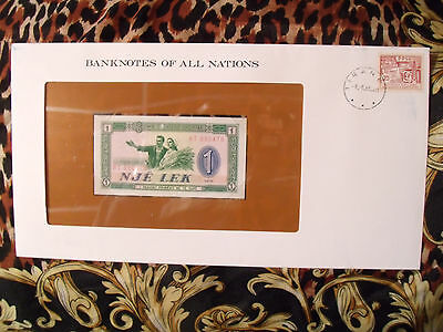 Banknotes of all Nations Albania 1976 P40a One Lek UNC Prefix RT