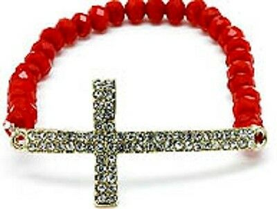 Sideways Cross Bracelet RED Crystals Rhinestone Religious Faith Hope Love Prayer