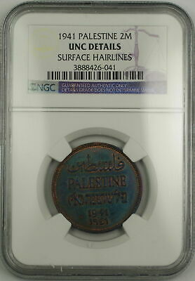 1941 Palestine 2m Two Mils Coin NGC UNC Details Surface Hairlines *Nicely Toned*