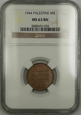 1944 Palestine 1 Mil Coin NGC MS-63 BN Brown (B)