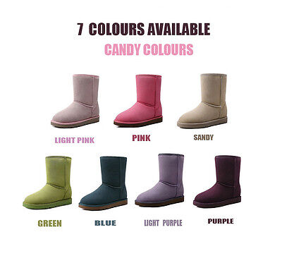 New Women Lady Short/Medium 3/4 Uggs Boots For Winter 7 Candy Colours Colourful