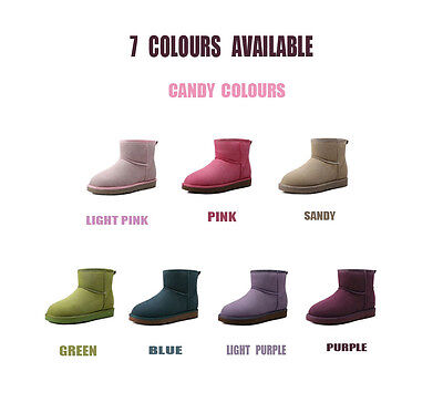 New Women Lady Short Mini Thick Uggs Boots For Winter 7 Candy Colours Colourful